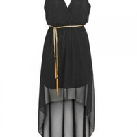Black V-Neck High Low Dress with Gold Chain Belt