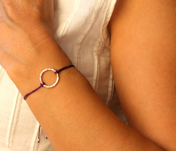 Friendship Bracelet Hammered Karma Bracelet Purple Macrame Knot