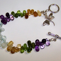 Multi, Gemstone, Bracelet, Amethyst, Peridot, Citrine, Aquamarine, Dragonfly, Charm, Reiki Charged, OOAK