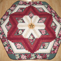 Christmas Tree Skirt Burgundy Poinsettia