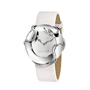 Roberto Cavalli Ladies Watch R7251165715 In Collection Snake, 2 H and S, Silver Dial and White Strap: Amazon.co.uk: Watches