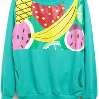 Green Fruit Printing Sweatshirt$40.00