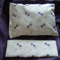Lavender pillow and eye mask set, hand made, with flax seed