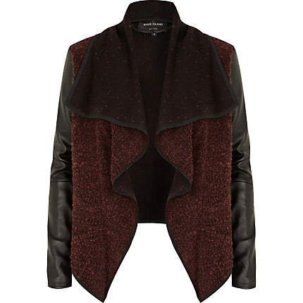 red pu sleeve fallaway biker jacket