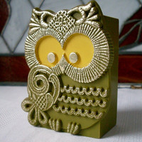 Vintage Owl Avocado Green Container by TheOwlLady on Etsy