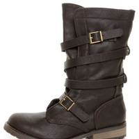 GoMax Apple Ranch 01 Brown Slouchy Belted Combat Boots - $85.00