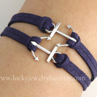Anchor-antique silver anchor bracelet,  leather bracelet, sailing bracelet