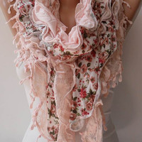 Ruffle Scarf - Salmon Lace and Cotton Scarf - New Collection