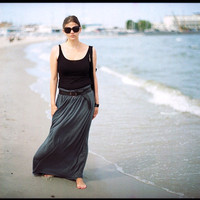 Gray stone maxi summer skirt
