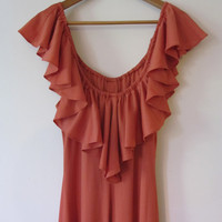 Coral Love - Vintage Ruffled Long Summer Dress