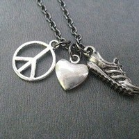 PEWTER PEACE LOVE RUN, BIKE, SWIM or YOGA - Pewter pendants on Gunmetal chain