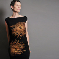 Feather T Shirt Dress - Fall Fashion - Metallic Copper Peacock Print  - Chic Bird Fashion American Apparel Tee Dress