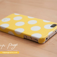 case for iphone 4 iphone 4s case , iphone case , Iphone 4, Blackberry mobile Case handmade: Yellow polka dot