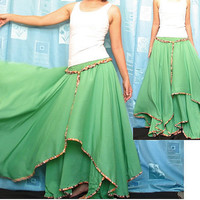 Circle Maxi Skirt Cotton Hippie Green Women Long Skirt / Wide Flowing Full Summer Skirt