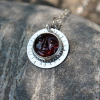 Garnet necklace sterling silver. Garnet with carved face.Big Red  stone . Beautiful smiling face. January birthstone. Red.