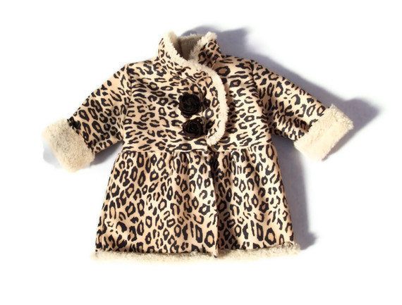 Girls Coat Faux Shirling Leopard Print Fall/Winter 6mos-3T