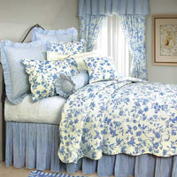 Brighton Blue Toile Oversized Quilt | Atlantic Linens