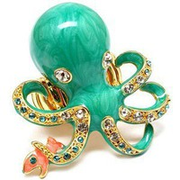 Inka's Aqua Blue Octopus & Fish Cocktail Ring - Polyvore