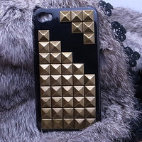 Studded iphone case - stud and spike iphone case - studded iphone 4 case - iphone 4s case metal punk iphone 4 case black case