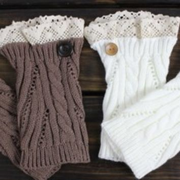 Set of TWO Boot Cuffs, Womens Boot Cuffs, Womens Knit Boot Cuffs, Boot Cuff, Lace Leg Warmers, Women's Boot Socks, Button Boot Cuffs, Knit from My fashion creations