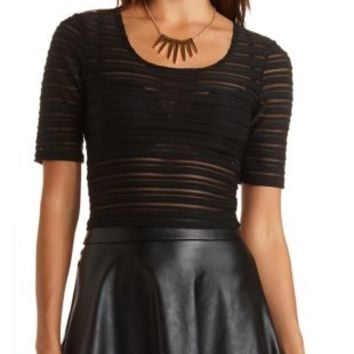 Sheer-Striped Ribbed Crop Top by Charlotte Russe - Black