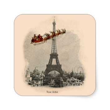 Vintage Santa over Paris Christmas Sticker