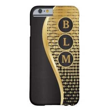 Monogrammed Black and Gold Mesh