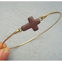 Brown Turquoise Cross Brass Bangle Bracelet