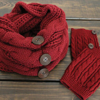 Scarf Gift SET- Cable Knit Scarf, Knit Infinity Scarf, Infinity Scarf, Winter Scarf, Boot Cuff, Buttoned Scarf, Chunky Scarf, Womens Scarfs