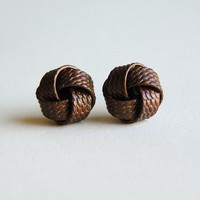 Vintage Brass Knot Stud Earrings No 7  Free by sparklefarm on Etsy