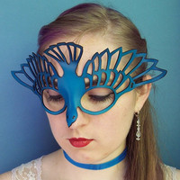 Bird leather cut out mask in blue by TomBanwell on Etsy