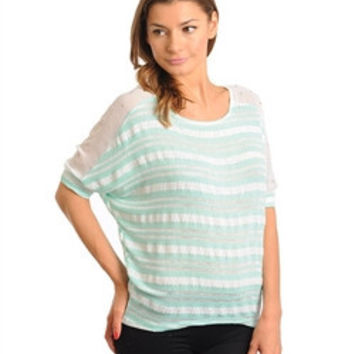 Creme de Mint Stripe Top