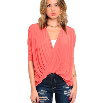 Twist Front Wrap Top / Coral