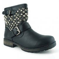 Breckelles Rocker-24 Studded Military Combat Boots in Black @ yabshop.com