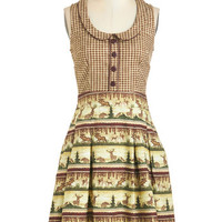 ModCloth Woodland Creature Long Sleeveless A-line Go All Outdoors Dress