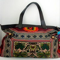Amazing Handbag Vintage Embroidered Cloth Hmong Bag - Genuine Leather Strap (BG015L.801%)