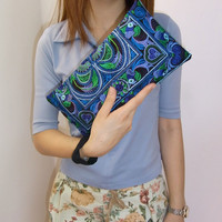 BLUE BIRD Wristlet Clutch HMONG Embroidered Bag Hippie Boho Handmade Thailand (810bb)