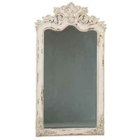 Florentine Distressed White Floor Mirror - hall mirrors, vintage floor mirrors white
