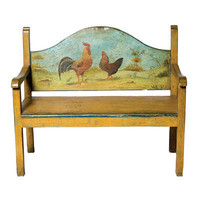 Painted Country Rooster and Chicken Bench - Belle Escape