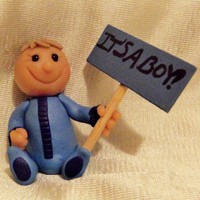 Cute Personalized It's A Boy! Baby Boy Sculpture in Blue Pajamas