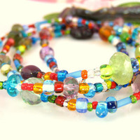 Rainbow beaded long rosary necklace