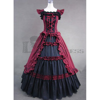Online Sleeveless Bandage Ruffled Black and Red Gothic Victorian Large Size Fancy Dress Costumes Fancy Dress [TQL120427001] - £71.59