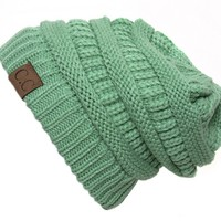 Sage Thick Slouchy Knit Oversized Beanie Cap Hat