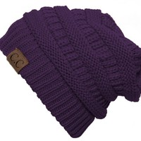 Thick Slouchy Knit Oversized Beanie Cap Hat - Purple