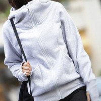 Gray Long Cardigan Thickened Hooded Sweatshirt$41.00