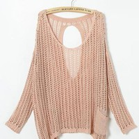 Black Pink Hollow Out Bat Sleeve Sweater $55.00