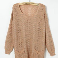 Pink  Round Neck Sweater with Double Pockets$43.00