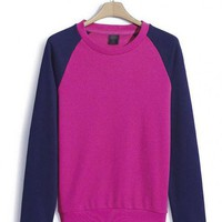 Purple Collision Color Raglan Sleeve Sweatshirt$44.00