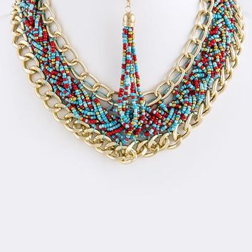 Turquoise (Multi-Colored) Seed Bead Twined Bib Necklace Set