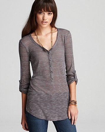 Splendid Top - Feathery Loose Knit Henley - New Arrivals - Boutiques - Women&#x27;s - Bloomingdale&#x27;s